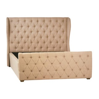 Tufted Linen Bed Frame Queen