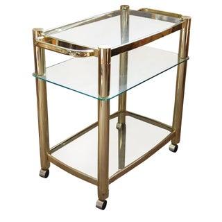 Modernist Brass & Glass Large Vintage Bar Cart