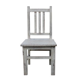 Asian Style Handmade Rustic White Small Wood Chair