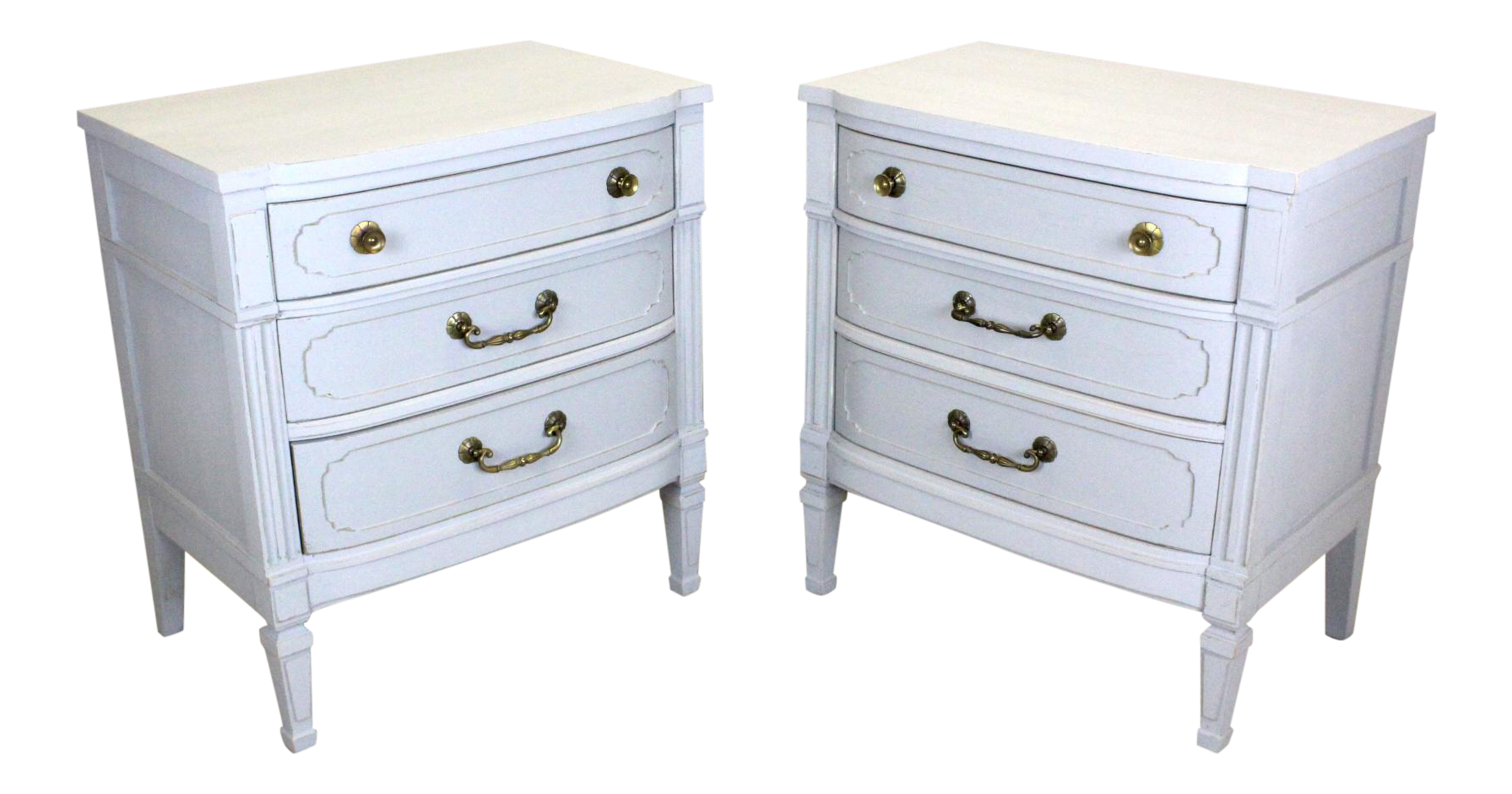 midcentury 3drawers gray nightstands a pair