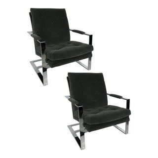 Pair of Rare Cantilevered Lounge Chairs by Milo Baughman