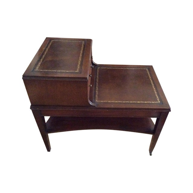 Image of Antique Mahogany And Gold Embossetd Leather