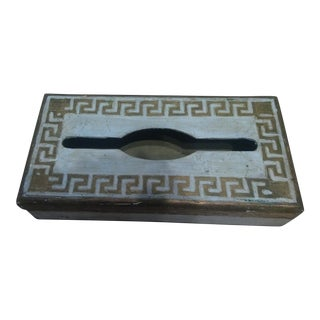 Italian Florentine Gold & White Greek Key Tissue Box