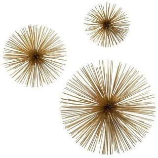 Metal Starburst Wall Sculptures - Set Of 3