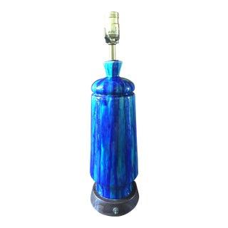 Mid-Century Glazed Blue & Turquoise Lamp