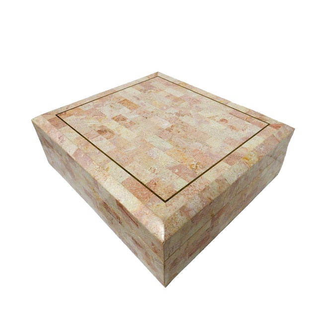 Maitland-Smith Stone & Brass Box Side Table - Image 5 of 10