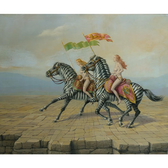 "Raymond Whyte ""Nudes on Zebras"" Surreal Oil Painting - Image 3 of 10"