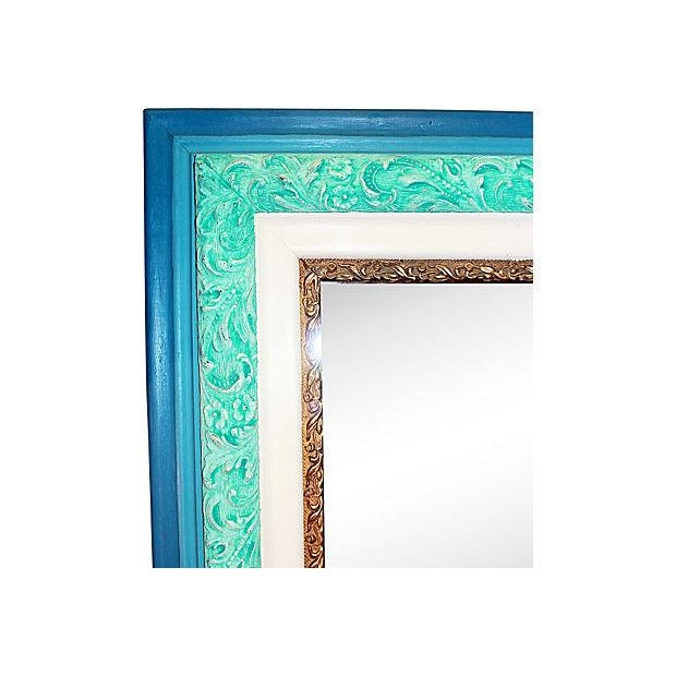 Antique Turquoise Painted Mirror in Chalk Paint - Image 2 of 4