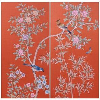 Hand Painted Chinoiserie Silk Panels - Pair