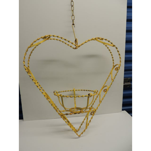 Vintage Heart-Shaped Yellow Planter - Image 2 of 6