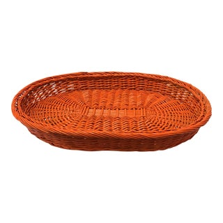 Vintage Orange Wicker Basket