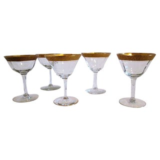 Vintage Gold-Banded Cocktail Glasses - Set of 5