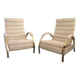 Milo Baughman Dia Lounge Chairs Brass Toned - Pair