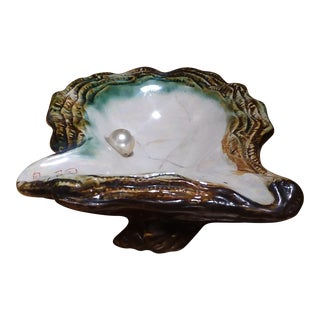 Antique Porcelain Oyster Shell Ashtray With Pearl