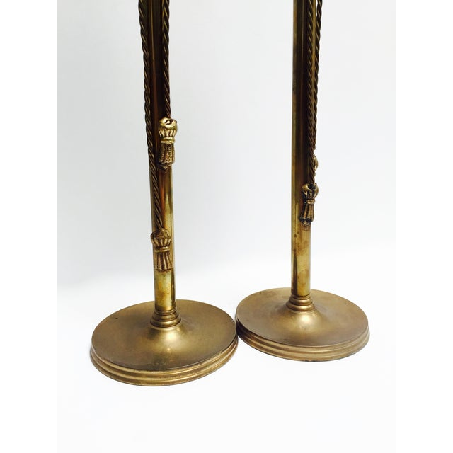 Image of Vintage Brass Tasseled Candleholders - A Pair