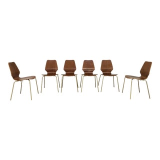 Arne Jacobsen Style Danish Modern Bent Teak Plywood Dining Chairs - Set of 6