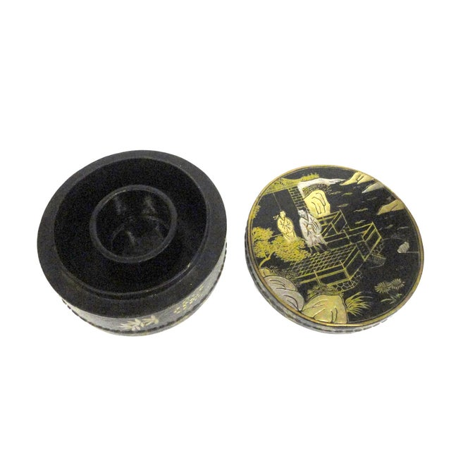 Chinese Black Lacquer Scenery Round Box - Image 2 of 5