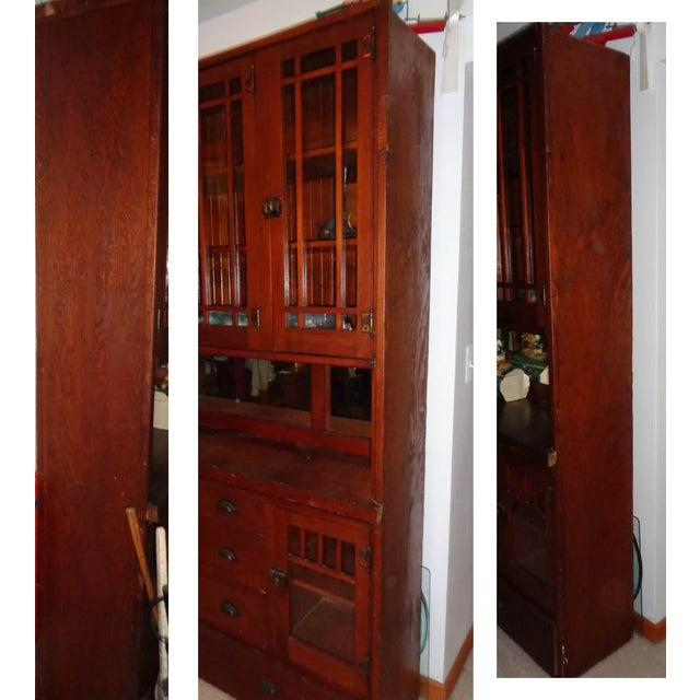 Antique Mission Hutch China Cabinet - Image 8 of 11