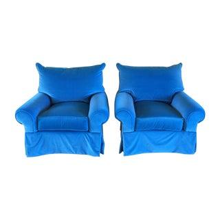 Venetian Blue Club Chairs - A Pair