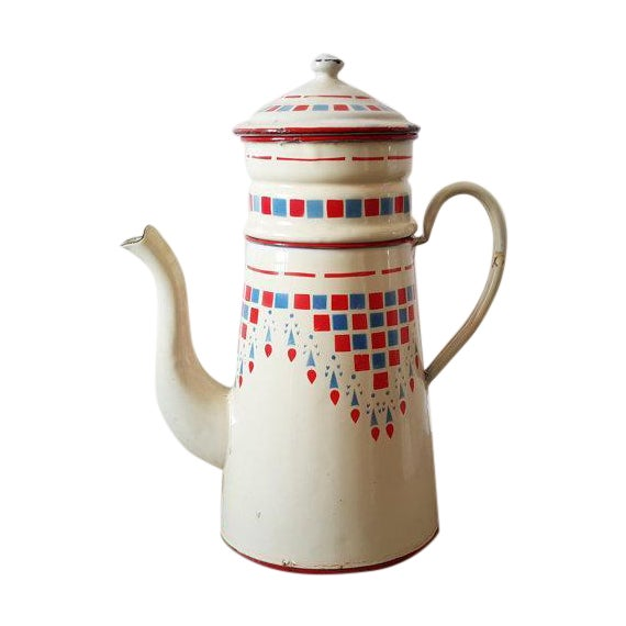 1960s French Vintage Enamelware Coffee Pot - Image 1 of 4
