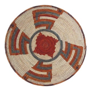 Native American Style Rust & Gray Patterned Basket