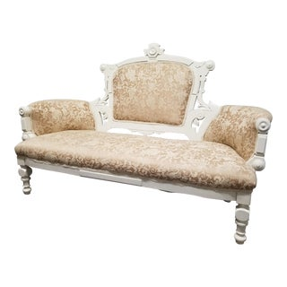 Antique Eastlake Ivory & Gold Brocade Settee - Vintage White Loveseat
