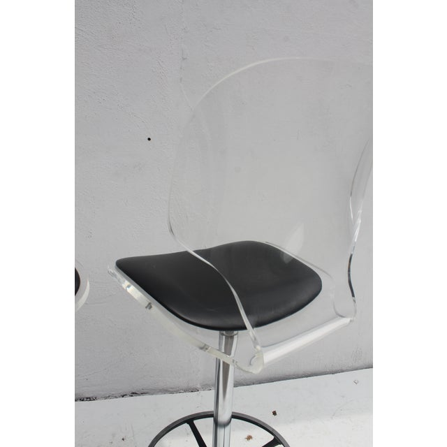 Image of Vintage Lucite & Tulip Base Swivel Bar Stools - A Pair