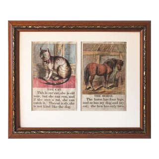 Antique Lithographs Children's Book Prints of Cat and Horse