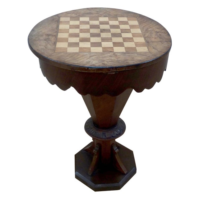 English Pedestal-Style Chess Table - Image 1 of 4