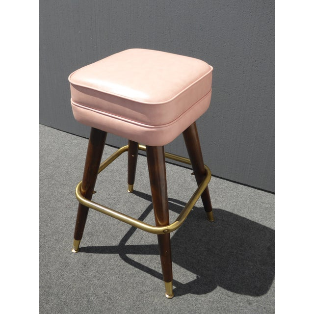 Retro Pink Vinyl Bar Stools - Set of 3 - Image 6 of 11