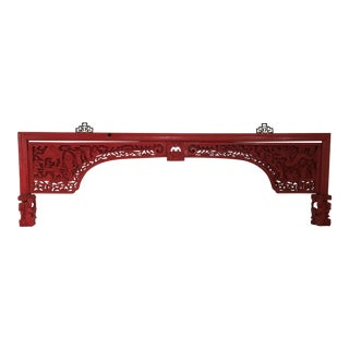 Red Lacquer Chinese Carved Wall Hanging