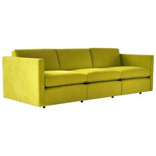 Charles Pfister for Knoll Sofa in Lime Ultrasuede