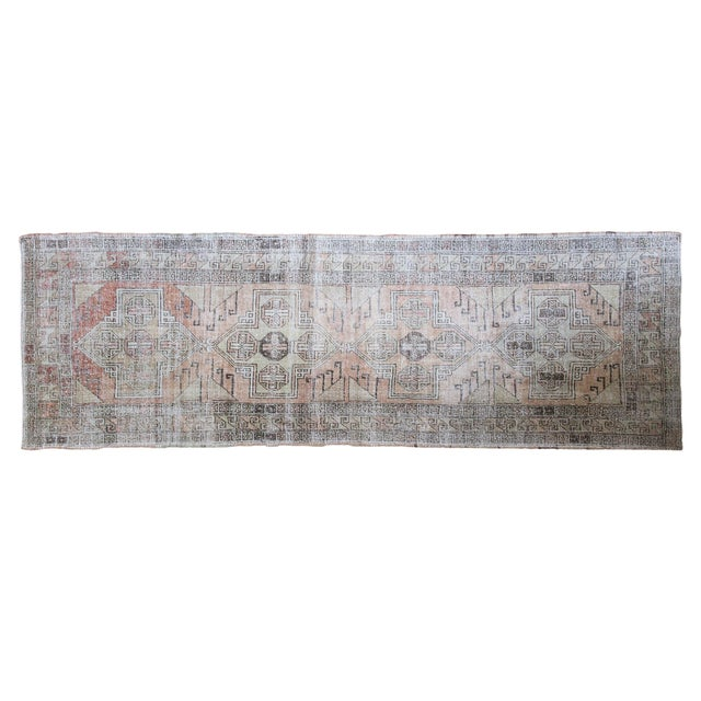 """Image of Distressed Coral Oushak Rug Runner - 3'8"""" x 11'3"""""""