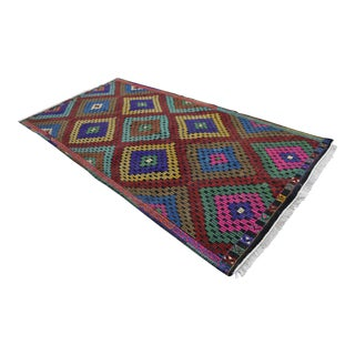 Handwoven Turkish Anatolia Kilim Rug - 4′11″ X 9′8″