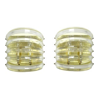 Hollywood Regency Brass & Lucite Wall Sconces - A Pair