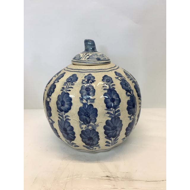 Blue & White Pumpkin Jar - Image 2 of 3