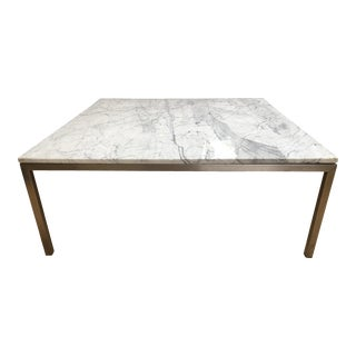 Crate & Barrel Square Stainless Steel & Marble Top Coffee Table