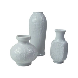 White Porcelain Vases - Set of 3