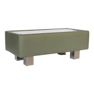 Stylish Modern Leather and Metal Ottoman or Coffee Table