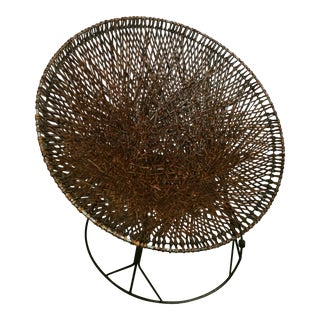 Mid-Century Modern Wicker and Wrought Iron Saucer Chair