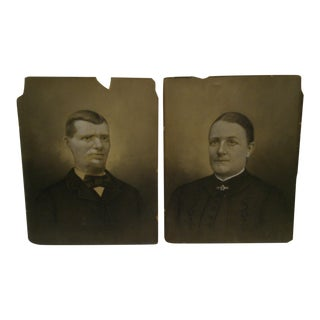 C. 1885 Husband & Wife Color Photographs - A Pair