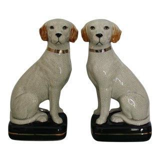 Vintage Takahashi Yellow Labrador Bookends - a Pair