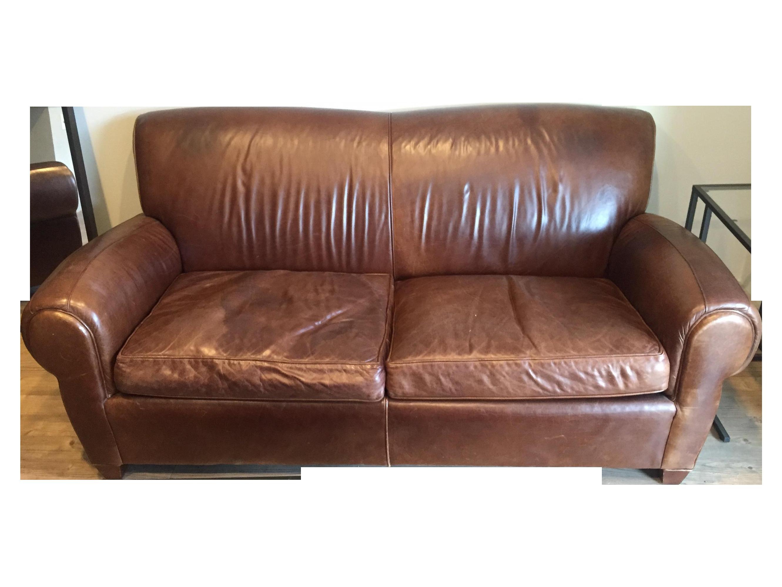 pottery barn quot manhattan quot leather seat sofa chairish