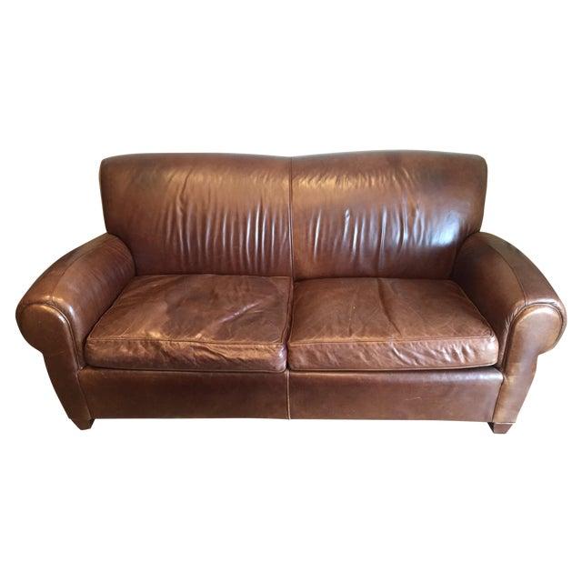 "Image of Pottery Barn ""Manhattan"" Leather Love Seat Sofa"