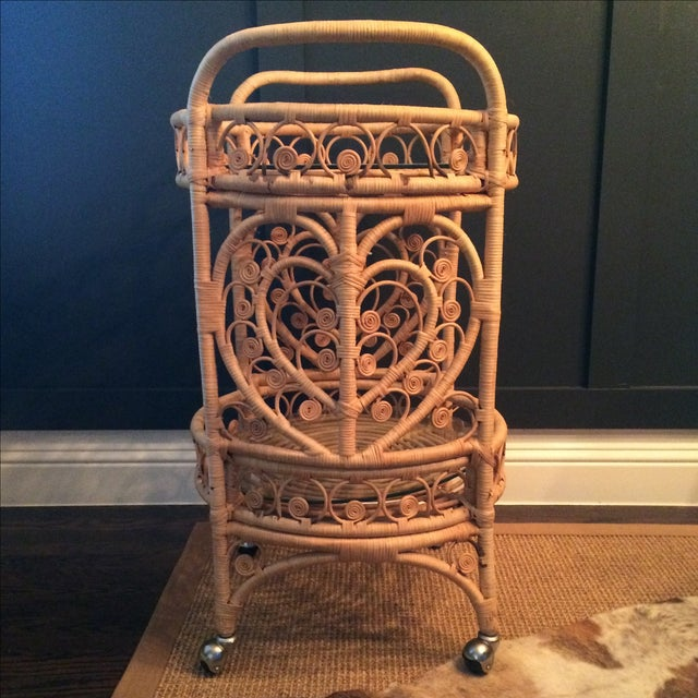 Vintage Bamboo & Rattan Bar Cart - Image 3 of 7