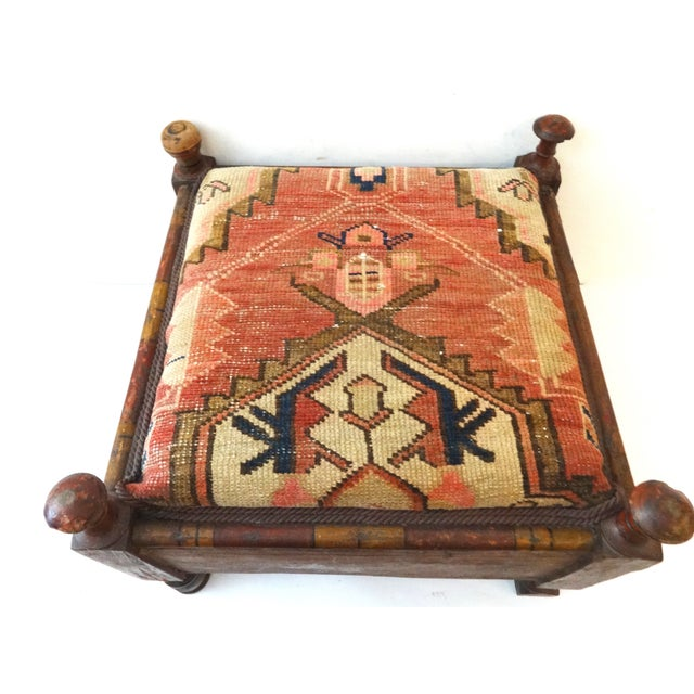 Indian Stool - Antique Hamadan Rug Top