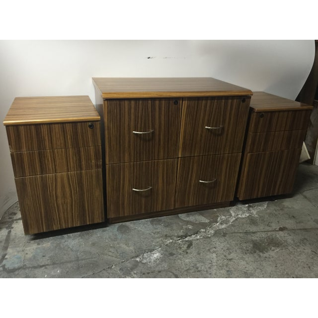 Mid-Century Wood Filing Cabinet - Set of 3 - Image 4 of 8