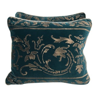 Gold Stenciled Velvet Pillows - A Pair