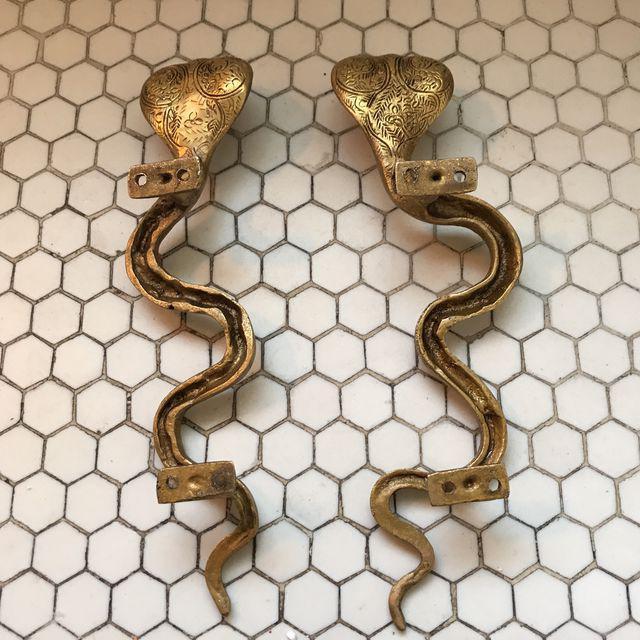 Hollywood Regency Gold Brass Cobra Door Handles- a Pair - Image 9 of 11