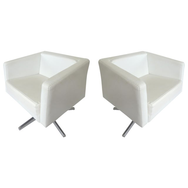 Modernist White Leather Swivel Chairs - A Pair - Image 1 of 10